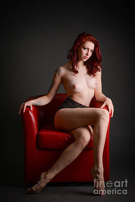 Nudes Photograph - Red Hair Red Chair by Jt PhotoDesign