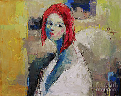 Pallet Knife Painting - Red Haired Girl by Becky Kim