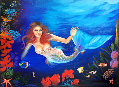 Painting - Red Haired Mermaid by Robert Korhonen