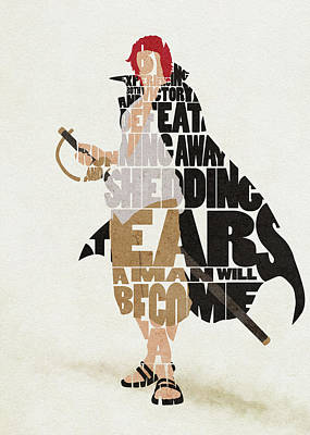 Digital Art - Red-haired Shanks Typography Art by Inspirowl Design
