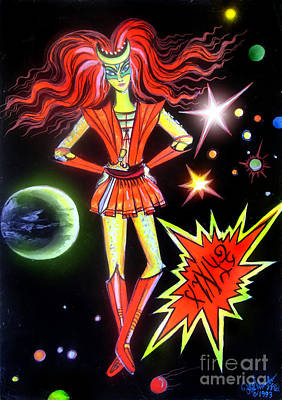 Planet Fantastic Painting - Red-haired Warrior Girl From Space by Sofia Metal Queen