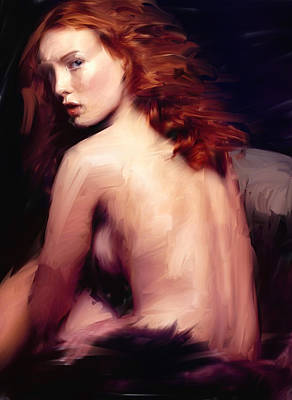 Redhead Digital Art - Red Haired Woman by H James Hoff