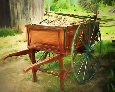 Antique Wagons Photograph - Red Hand Cart by Chris Bordeleau
