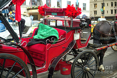 Photograph - Red Hansom Cab In New York City by John Rizzuto