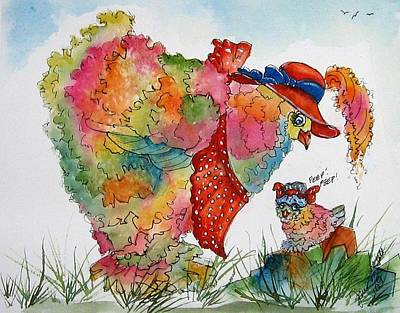 Red Hat Chick Cutie Art Print by Gina Hall