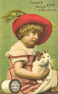 Old Time Spool Photograph - Red Hat Girl Holding A Cat  Ephemera by Black Brook Photography