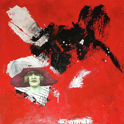Mixed Media - Red Hat by Judy Tolley