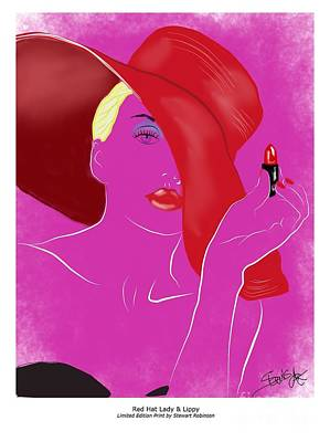 Mixed Media - Red Hat Lady And Lipstick by S Robinson