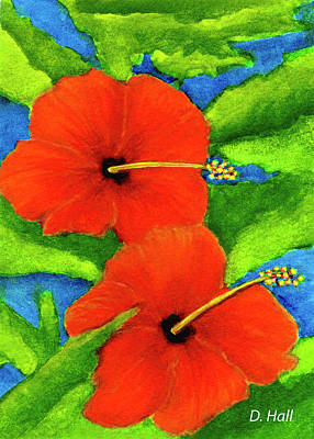 Red Hawaii Hibiscus Flower #267 Art Print by Donald k Hall