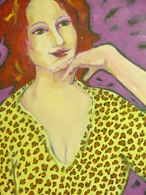 Red Head In Leopard Art Print