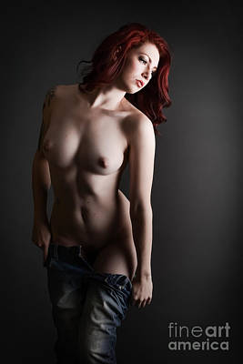 Red Head Undressing Art Print by Jt PhotoDesign