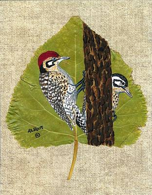 Painting - Red Headed Wood Peckers by Ralph Root