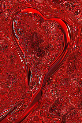 Abstract Hearts Digital Art - Red Heart Abstract  by Michelle  BarlondSmith