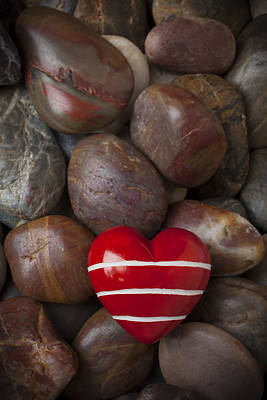 Red Heart Among Stones Art Print by Garry Gay
