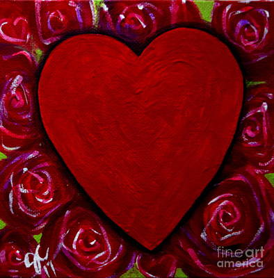Painting - Red Heart And Roses by Jackie Carpenter