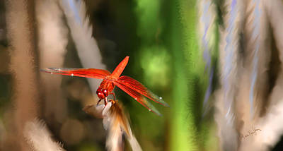 Digital Art - Red Heart Dragonfly by Lisa Redfern