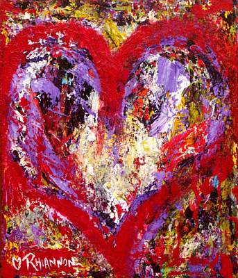 Subliminal Painting - Red Heart On Wood by Rhiannon Marhi