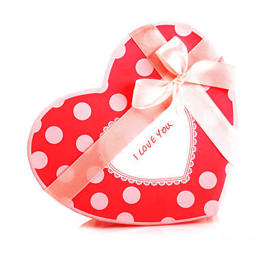 Photograph - Red Heart-shaped Gift Box by Anna Om