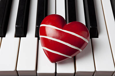 Keyboards Photograph - Red Heart With Stripes by Garry Gay