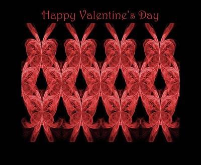 Digital Art - Red Hearts - Happy Valentine's Day Card by Angie Tirado