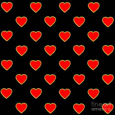 Digital Art - Red Hearts On A Black Background Saint Valentines Day Love And Romance by Rose Santuci-Sofranko