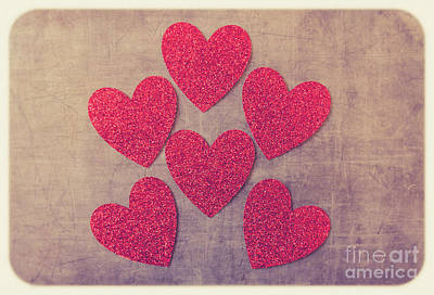 Photograph - Red Hearts #retro by Andrea Anderegg