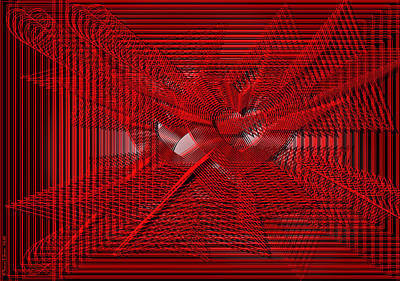 Digital Art - Red Heartwires by ThomasE Jensen