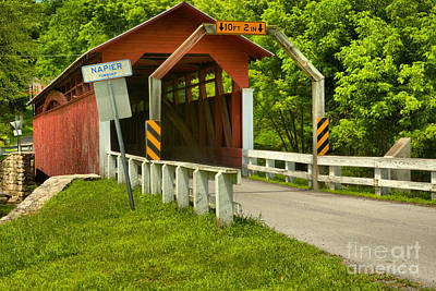 Photograph - Red Herline Covered Bridge by Adam Jewell