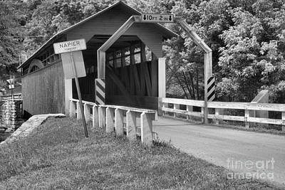 Photograph - Red Herline Covered Bridge Black And White by Adam Jewell