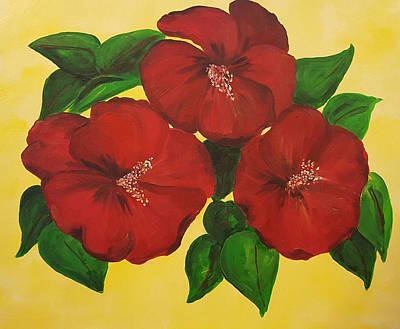 Painting - Red Hibiscus by Donna Cervelli