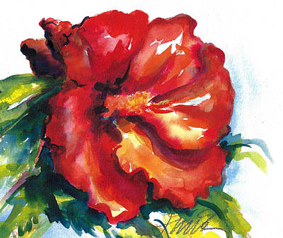 Painting - Fireball Red Hibiscus by Jacki Kellum