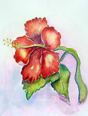 Art Print featuring the painting Red Hibiscus by Patricia Piffath