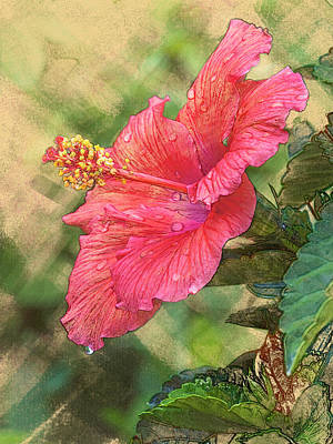 Digital Art - Red Hibiscus by Mark Mille