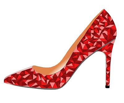 Shoe Digital Art - Red High Heel Shoe by David Smith