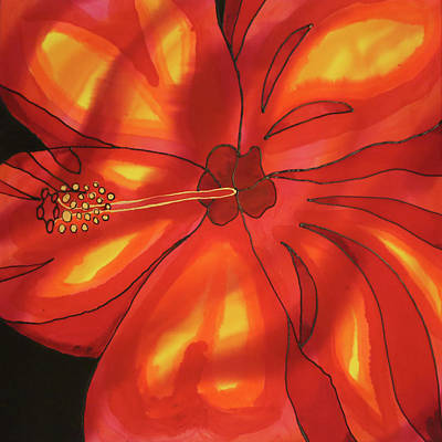 Painting - Red Hibiscus 1 by Lee Vanderwalker
