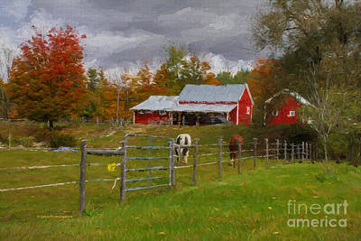 Morgan Horse Painting - Red Horse Barn by Deborah Benoit
