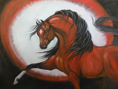 Red Horse Fantasy Art Print by Liz Rose