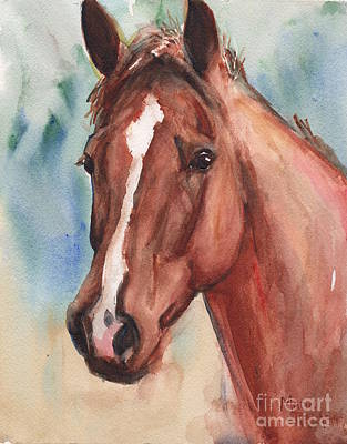 Sorrel Horse Painting - Red Horse In Watercolor by Maria's Watercolor
