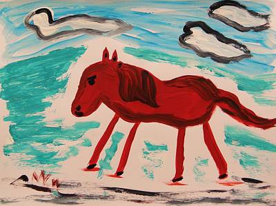 Freeform Drawing - Red Horse Running by Mary Carol Williams