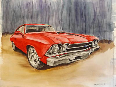 Painting - Red Hot Chevelle by Pamela Anderson