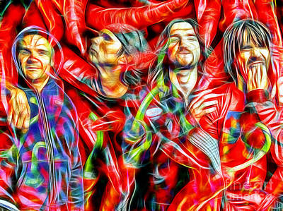 Red Hot Chili Peppers In Color II  Art Print by Daniel Janda