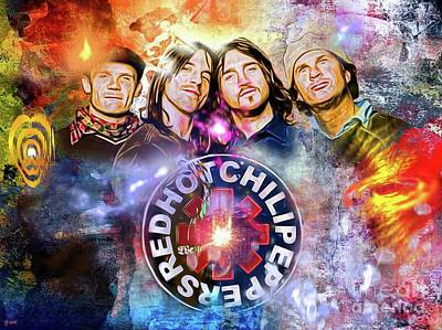 Rhcp Painting - Red Hot Chili Peppers Painted by Daniel Janda