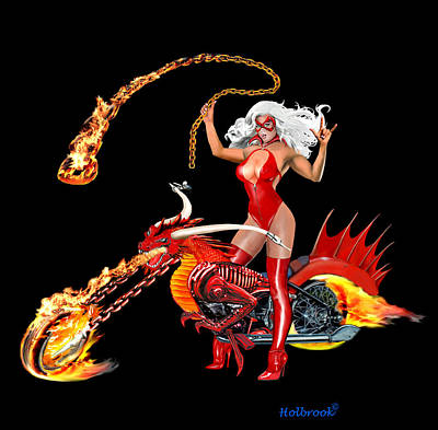 Red Hot Dragon Biker Babe Art Print by Glenn Holbrook