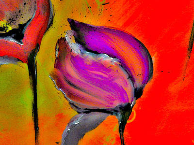 Warm Painting - Red Hot Floral Abstract by Lisa Kaiser