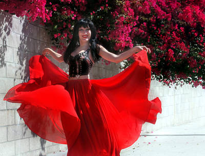 Circle Skirt Photograph - Red Hot Gypsy Dance. Ameynra Fashion By Sofia Metal Queen by Sofia Metal Queen