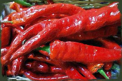 Painting - Red Hot Peppers  by Joan Reese