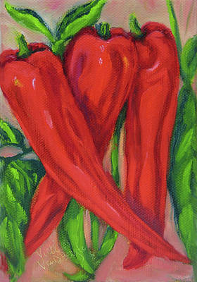 Painting - Red Hot Peppers by Vicki VanDeBerghe