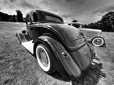Red Hot Rod In Black And White Art Print by Gill Billington