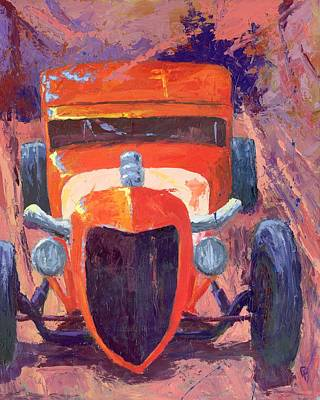 Red Hot Rod Sedan Art Print