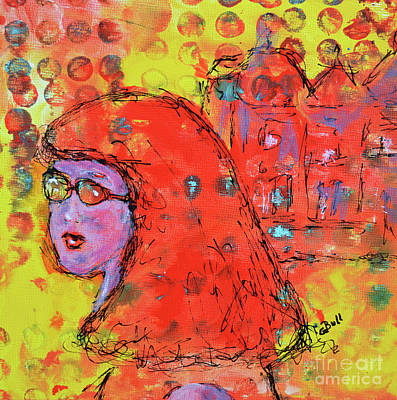 Original featuring the painting Red Hot Summer Girl by Claire Bull